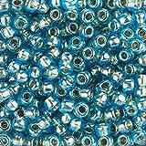 Toho Perlen Gr. 3/0Japanische Rocailles Gold gefüttert aqua 19,5g