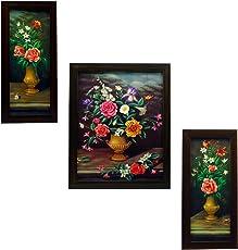 Indianara Wood Framed Wall Hanging Art(Multicolour) - Set of 3