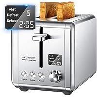 Grille Pain avec 2 Fentes Extra-larges 900W avec LCD Écran et 9 Niveaux de Brunissage, Toaster conclus Countdown, Décongelation, Rechauffage et Remontée Extra Haute, Willsence