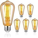 Uchorlls Bombilla de Filamento LED E27, 6W (equivalente a 60W), 700LM, Luz Cálida, No Regulable,E27 Edison Vintage Bombilla d