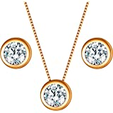 EleQueen 925 Sterling Silver 0.7 Carat Solitaire CZ Dot Pendants Necklace Stud Earrings Jewelry Sets