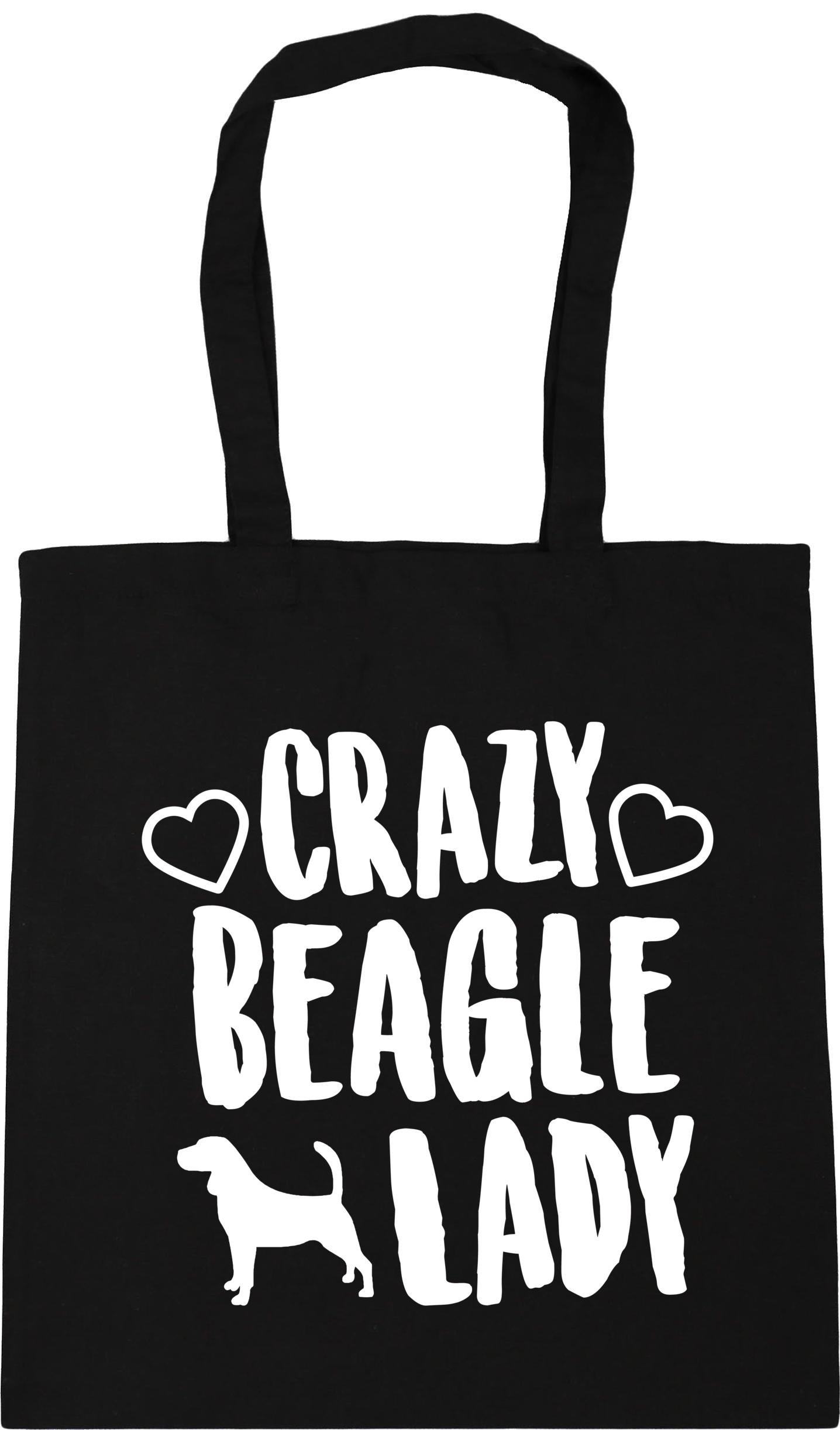 HippoWarehouse Crazy Beagle lady dog Tote Shopping Gym Beach Bag 42cm x38cm, 10 litres