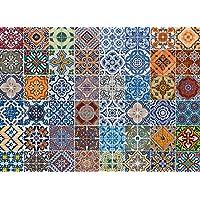 Artland Qualität I Alu Küchenrückwand Spritzschutz Küche 90 x 65 cm Abstrakte Motive Muster Foto Bunt F1RO Gemusterte Keramikfliesen