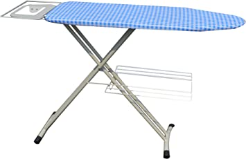 ATHENACREATIONS Fabric Ironing Board with Iron Holder, Safety Lock, Adjustable Height and Multi-Functional Tray (ACFT15, White)
