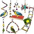 Jouets pour Oiseaux, PietyPet 8 Pièces Bois Pieds Perchoirs, Balançoires, Échelles, Escalade Perché pour Cages à Oiseaux de p