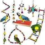 PietyPet Jouets pour Oiseaux, 8 Pièces Bois Pieds Perchoirs, Balançoires, Échelles, Escalade Perché pour Cages à Oiseaux de P