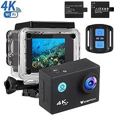 """IceFox Action Cam 4k, Ultra FHD Unterwasserkamera 30M, 2"""" LCD 170°Ultra Weitwinkel Helmkamera Wasserdicht Action Kamera mit 2 wiederaufladbaren Akku, Wifi Fernbed"""