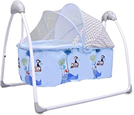 R for Rabbit Lullabies - New Born Baby Swing Cradle with Automatic Gentle Swing (Blue)
