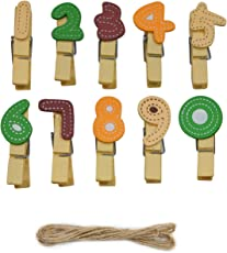 Asian Hobby Crafts Wooden Photo or Paper Clips Design - Numbers (Pack of 10)