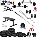 BODYFIT Deluxe Home Gym Combo Flat Bench with 30 KG Weight Plates 4 RODS Home Gym Set & Fitness kit