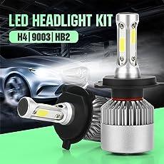 Ocamo Pack of 2 COB LED Auto Car Headlight, 40W 10000LM All In One Car LED Headlights Bulb Fog Light, White 6000K Head Lamp H4/HB2/9003
