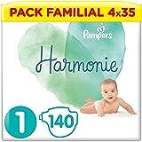 Pampers Couches Harmonie Taille 1 (2-5kg) 0% de compromis, 100% d'absorption, Ingrédients d'origine végétale, Hypoallergéniqu