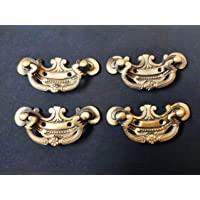 KT Hardware Solutions Vintage Brass Antique Finish Chest Handles/Drawer Pulls - Pack of 4