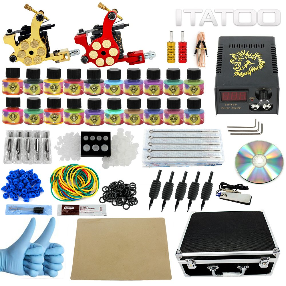 Beginner complete tattoo kits 10 wrap coil tattoo guns for Tattoo supplies ebay