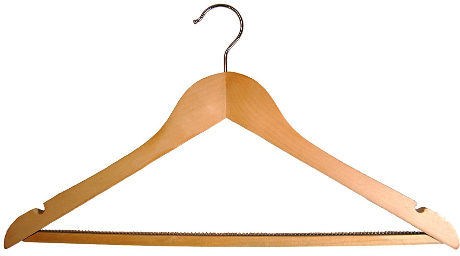 10 natural wooden angled coat clothes hangers with non slip bar and notches for suits tops shirts dress quantity amazoncouk kitchen