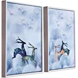 Art Street White & Blue Running Deer Framed Canvas Painting Set of 2 Wall Art Print -13x17 inch