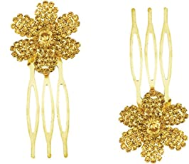 AccessHer: Trendy Indo Western Wedding and Party Wear Fancy Golden Small Size Hair Accessories Clip Side Pin Comb Jooda Pin for Girls and Women