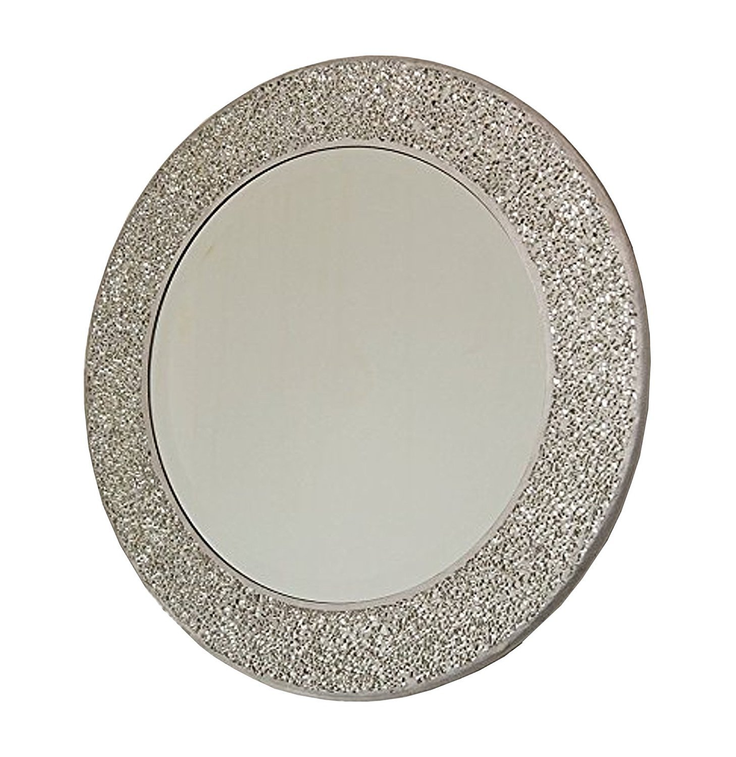 Round Wall Mounted Mirror Glass Mosaic Silver Frame Living ...