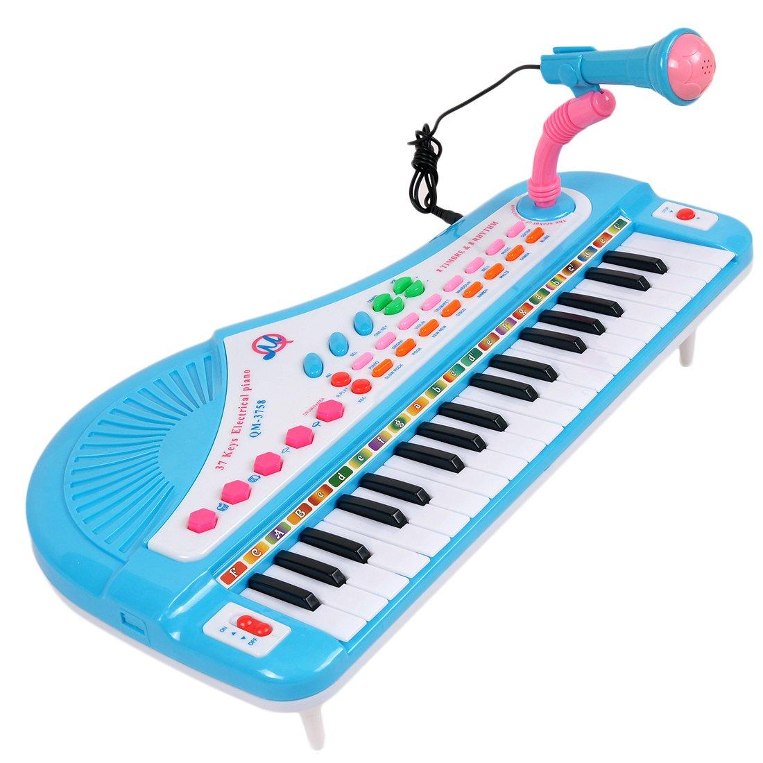 Giocattolo Musicale, Foxom Tastiera Elettronica a 37 Tasti Con Microfono, Registra e Ascolta La Tua