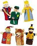 roba Set de 6 marionnettes en tissu de peluche et feutre, marionnettes pour des théâtres de marionnettes