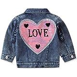 Chaqueta de Mezclilla para Niñas Otoño Primavera Abrigo de Jeans con Mangas Largas Cuello de Solapa Botones Moda Casual 1-6 A