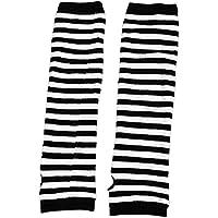 sourcing map Signora senza dita strisce stampe braccio in tessuto Guanti lunghi scaldabiberon Bianco Nero coppia