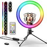 """Luz de Anillo LED 10.2"""" con Trípode, Boaraino RGB Ring Light con Soporte de Móvil y Control Remoto Bluetooth, Aro de Luz con"""