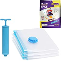 Kurtzy Reusable Vacuum Storage Space Saver Compression Sealer Bags for Clothes, Quilts, with Compact Hand Pump for…
