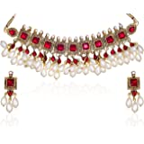 Zaveri Pearls Kundan Pearl Drop Choker Necklace Set For Women - ZPAM42