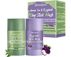 Green Stick Mask, Masque Nettoyant, Green Tea & Aubergine Purifying Clay Stick Mask, Visage Hydrate Le contrôle de l'huile, é