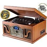 Lauson Platine Vinyle Bluetooth USB mp3 et Fonction Encodage Classique Lecteur CD Bois avec CD Cassette Radio 33/45/78 RPM Haut-parleurs Intégrés, CL146