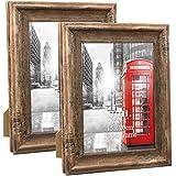 Amazon Brand – Umi - Cadres Photo 15x20cm Mural ou à Poser Lot de 2 Rustiques en Bois,Marron,Cadre Décoration Vintage