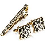 Dibangu, set di gemelli da uomo, alla moda, per camicia, polsino con bottoni dorati/argento