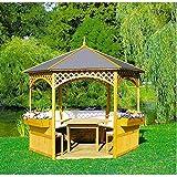 Promadino Holzpavillon Palma mit Holzdach u. Dachpappe mit/ohne Möbel