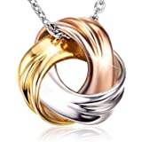 18K White Gold and Rose Gold Plated 925 Sterling Silver Necklace SPIRAL GALAXY Pendant for Women Ladies Girls Females Exquisi