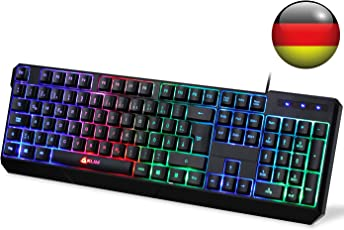 KLIM Chroma Tastatur Gamer QWERTZ Deutsch mit USB Kabel – Hohe Leistung – Bunte Beleuchtung (Schwarz) RGB PC Windows, Mac PS4 [ Neue 2018 Version ]