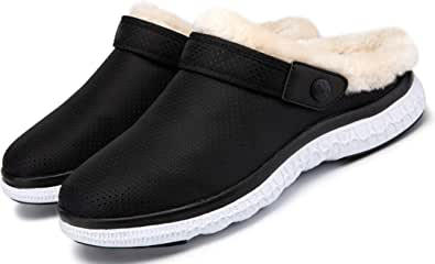 Men's Women's Winter House Slippers Garden Clogs Mules Garden Shoes Plush Fleece Lined Home Shoes Anti-Slip Warm for Indoor Outdoor