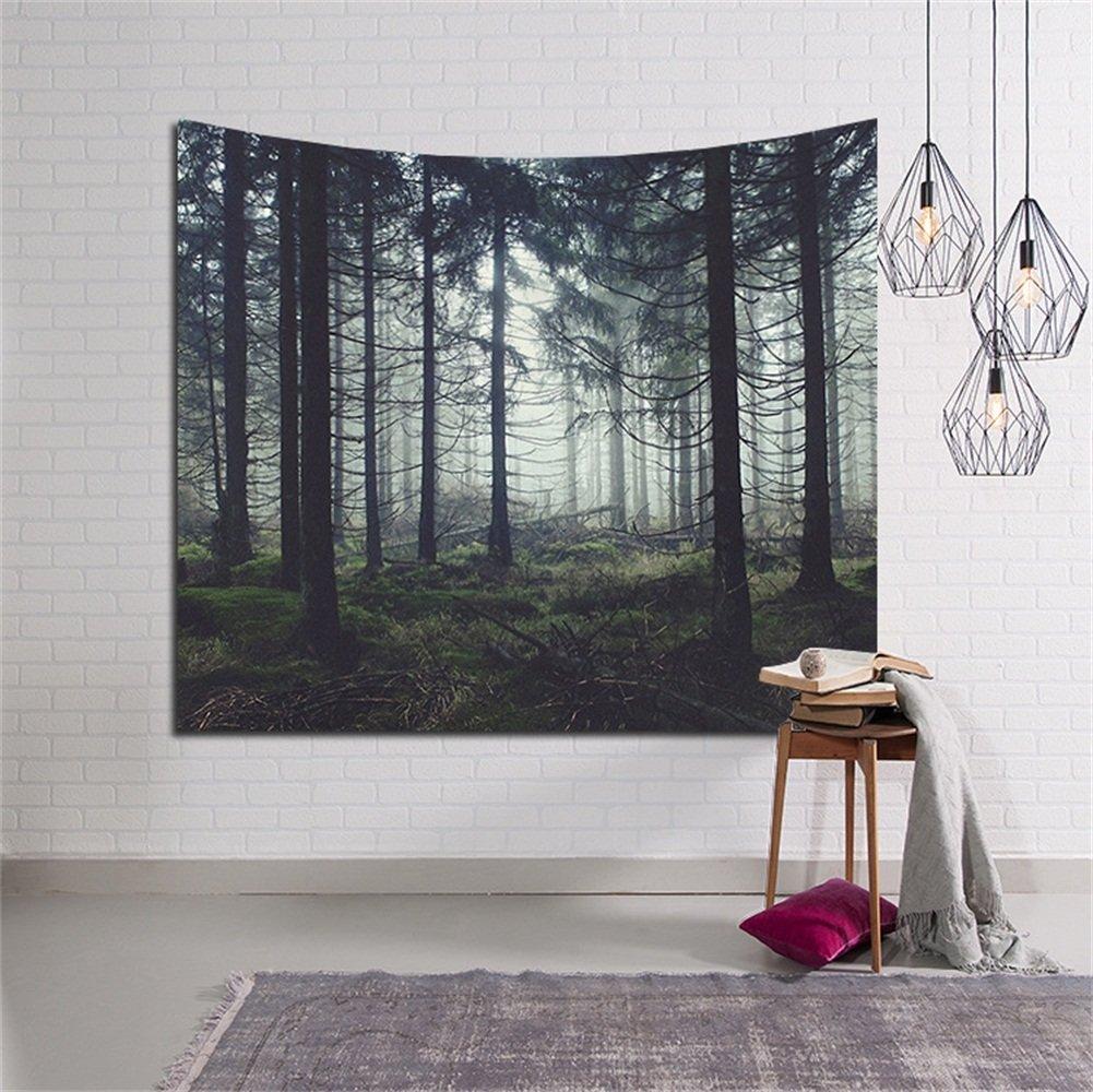 Grüner Wald Wandteppich aus leichtem Wandtuch Wandbehang Wand Dekor ...