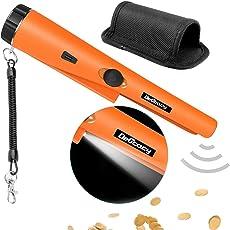Metalldetektor, Delicacy Metall Pointer IP66 wasserdichter Pinpointer mit eingebautem LED Indicator und Holster Ausgraben Werkzeug Zubehör für Empfindlichkeit Schatzsuche für Goldmünze Treasure Hunt Junior Anfänger Adult Kids (Orange)