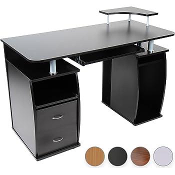 Schreibtisch Computertisch Bürotisch mit Tastaturauszug, 2