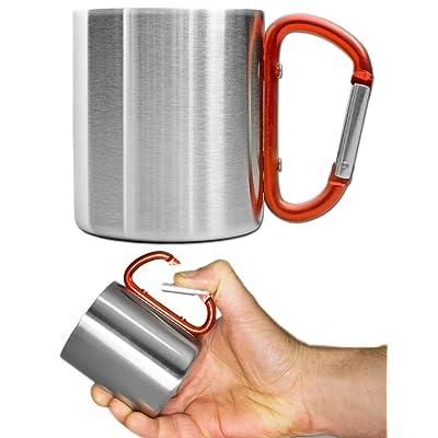 Mountain Warehouse Tasse d'entrepôt de montagne Karabiner - flacon en acier à double paroi de l'eau, tasse potable durable, poids léger, poignée de Carabiner