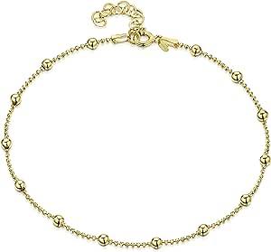 Amberta® Gioielli - Catenina da Caviglia Argento Sterling 925 - Placcato Oro da 18k - Modello Classico - Regolabile da 22 a 25,5 cm - Misura Flessibile