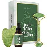 Jade Roller met Gua Sha en Vitamine C Serum - Met Hyaluronzuur, Collageen en Retinol - Gezichtsroller - 100% Pure Jade Steen