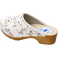BeComfy Women's Clogs Wood Footwear Shoes Leather Wooden White Black & Colorful Flowers 3-7.5 UK