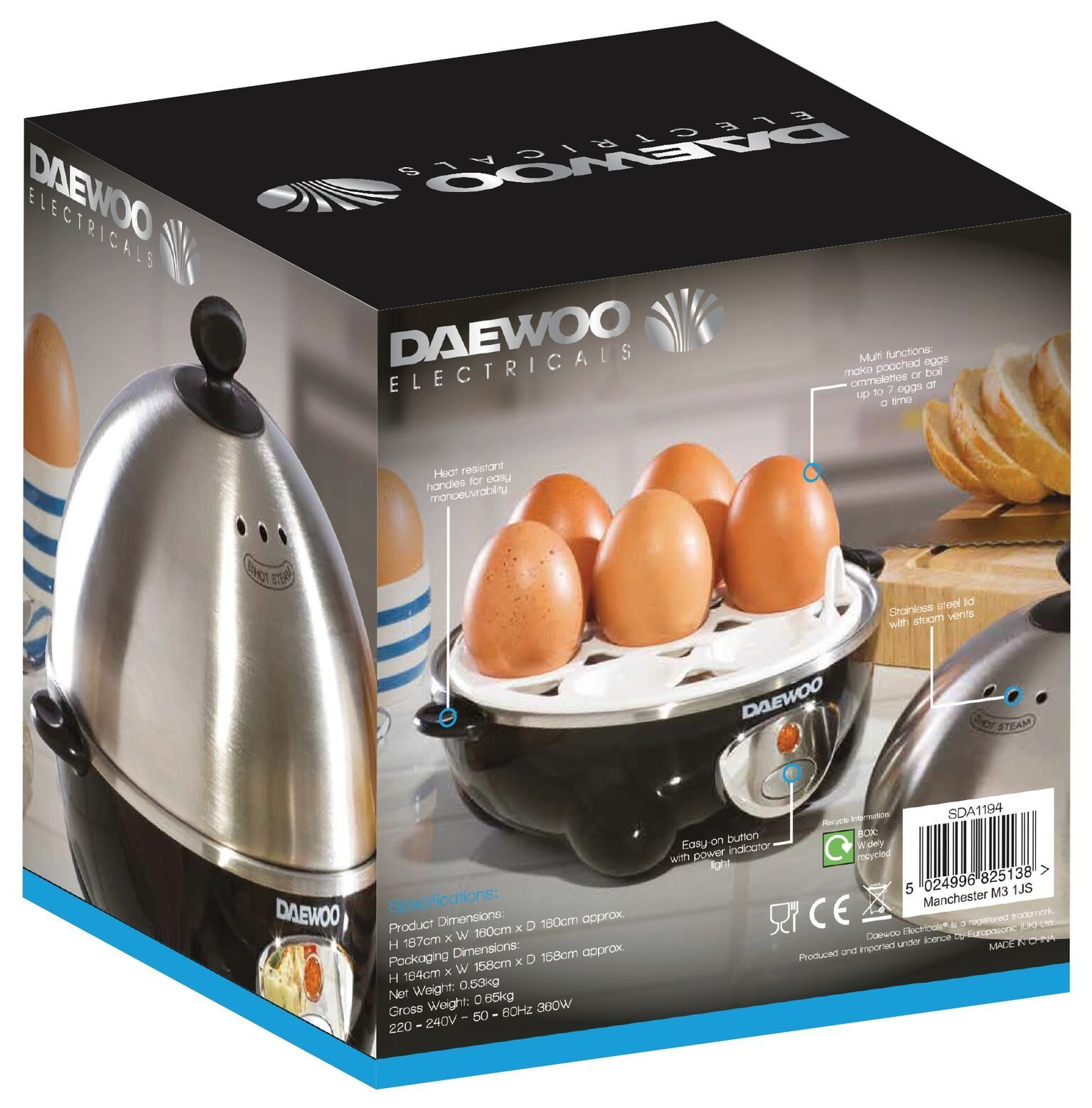 712hk oe%2BWL - Daewoo 360W Compact Egg & Omelette Cooker with Steam Vents, Boil Dry Protection, Heat-Resistant Handles - Silver/Black