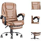 Kontorsstol hem dator stol läder/ihåligt nätstol med armstöd lyft justeringsstol 360° gratis roterande säte (bärnsten-pu, 1)