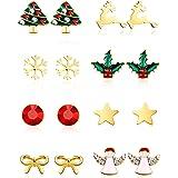 Conjunto de 8 Pares de Pendientes de Perno con Encantos de Navidad Aretes de Fiesta de Navidad para Mujeres Chicas