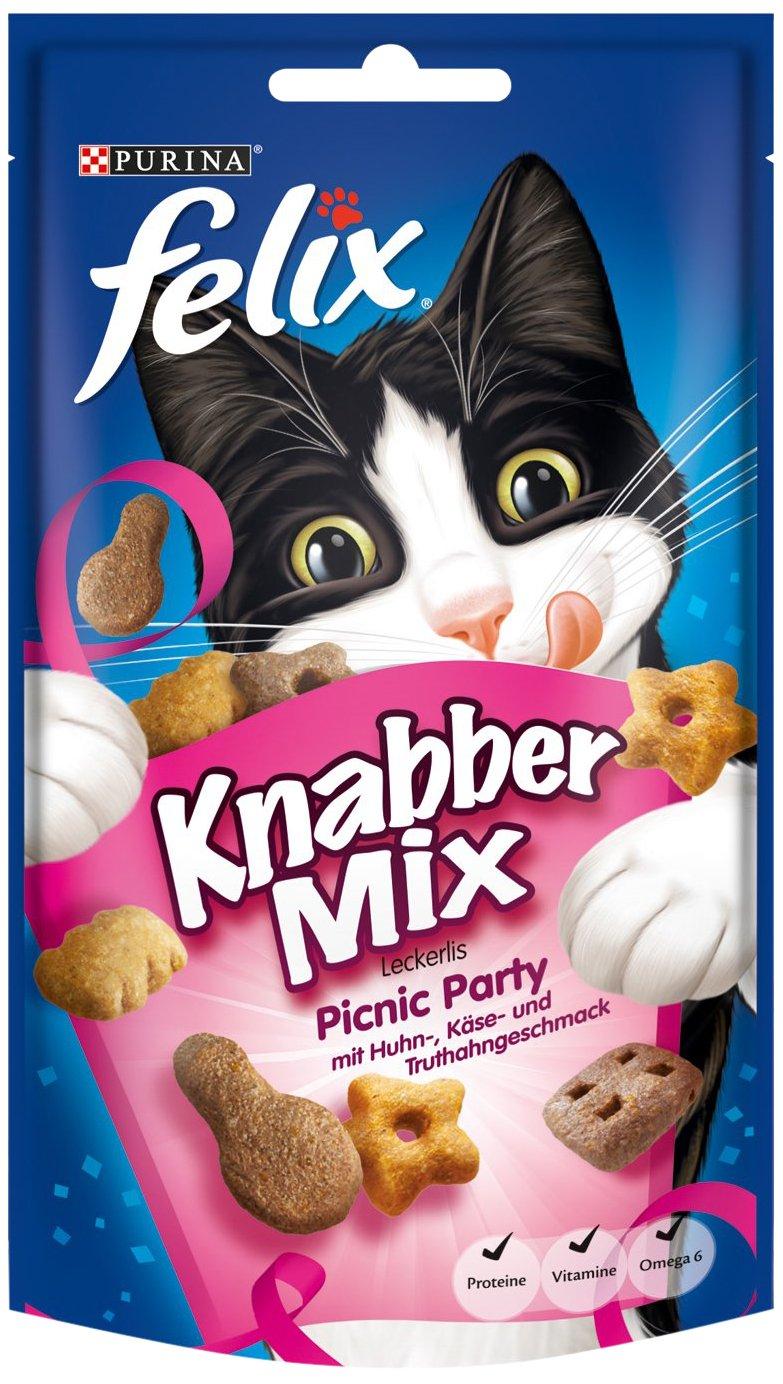 Felix Golosinas para Gatos Knabber Mix, Pack de 8 (8 Paquetes de 60 g)