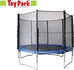 TOY PARK Fitness TUV Approved Trampoline with Enclosure net and Poles Safety Pad Jumping Mat and Ladder, 8 ft (Blue and Black)