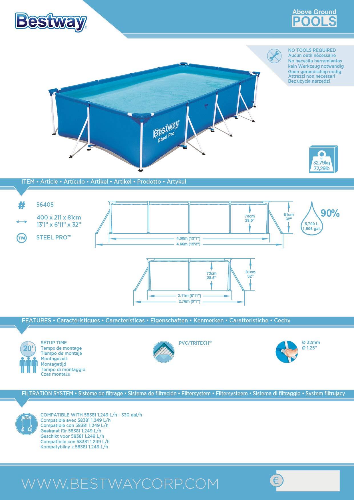 Bestway Steel Pro 56405 – Piscina (Piscina con Anillo Hinchable, Rectangular, 5700 L, Azul, PVC, Acero)